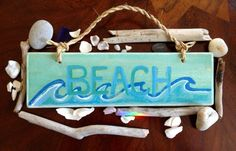 A personal favorite from my Etsy shop https://www.etsy.com/listing/158679774/beach-time-original-wood-sign-mixed