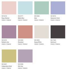 """""""Vintage Moxie"""" palette with swatches of pastel & cool jewel tone interior paint colors from Sherwin-Williams."""
