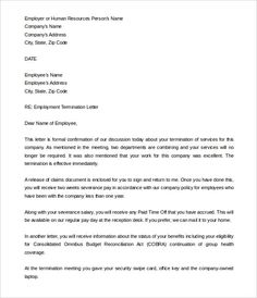 Employee Separation Letter Sample Employee Termination Letter Employee  Termination Letter, Template Employment Termination Letter Termination Of  Employment, ...  Letter Of Termination Of Employment Template