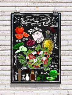 "Chalkboard Kitchen-Food-Restaurant-Menu-Recipe-Italian Cuisine-Dressing-Feta Cheese-Tomatoes-Basil-Greek Salad Recipe-Print 8.5x11"" No.702 by TimelessMemoryPrints on Etsy https://www.etsy.com/listing/237008429/chalkboard-kitchen-food-restaurant-menu"