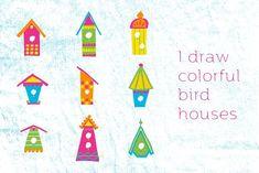 Vector colorful bird houses by guylaine's design on @creativemarket