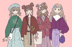 Kawaii Anime Girl, Anime Art Girl, Cute Art Styles, Fashion Design Drawings, Korean Art, Anime Outfits, Cute Illustration, Girl Cartoon, Cute Drawings