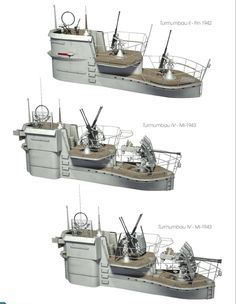 German U-Boats by different conning bridge tower design types...