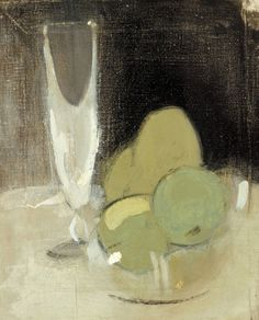 Helene Schjerfbeck, Green Apples and Champagne Glass, 1934. Oil on canvas, 40,5 x 33 cm. Finnish National Gallery, Helsinki.