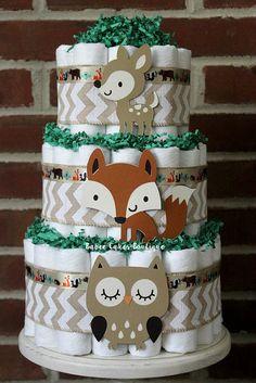 3 Tier Woodland Animal Diaper Cake, Boys Woodland Baby Shower, Fox, Owl, Deer, Centerpiece, Decor, Gender Neutral, Burlap, Chevron, Green