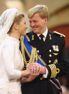 Princess Máxima and Willem-Alexander, Prince of Orange, of the Netherlands; Royal Brides, Royal Weddings, Prince Of Orange, Dutch Royalty, Queen Maxima, Royal House, Civil Ceremony, Royal Fashion, Nassau
