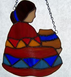 southwest glass designs | Glass Indian Girl with Basket-Suncatcher | Designs-in-Stained-Glass ...