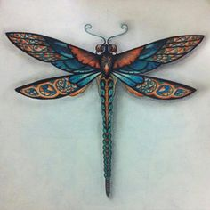 Floresta Encantada/ Dragonfly in copper and aqua? Dragonfly Tattoo Design, Dragonfly Art, Tattoo Designs, Dragonfly Painting, Doodles Zentangles, Johanna Basford Coloring Book, Paperclay, Tattoo Inspiration, Coloring Books