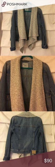Abercrombie jean jacket Has scarve-like collar attached Abercrombie & Fitch Jackets & Coats Jean Jackets