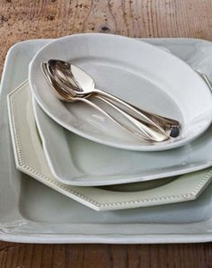 White platters. Available at Antique stores and  WilliamsSonoma.com.  Part of Ina Garten's Tips For The Perfect Kitchen.