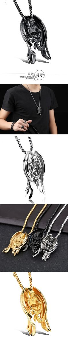 DoreenBeads Angel Skull Necklace Pendant Men Punk Jewelry Stainless Steel Skeleton Wings Mens Necklaces Pendants Chain Fine Gift