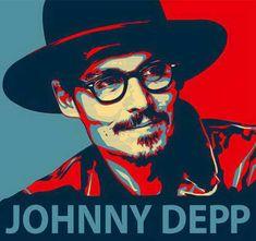 Obama style portrait of Johnny Depp.