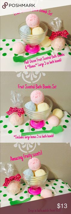 Fruit Scented Bath Bomb Set Fruit Scented Bath Bomb Set. Handmade bath bombs set of 6. AND--Bonus one large 5 oz bath bomb! These are all fruit scented. Scents in this lot may include strawberry supreme, blueberry blast,lemon meringue watermelon. Each bath bomb is comparable in size to a golf ball but a bit bigger. 3oz each. Bonus large bath bomb is 5oz! Drop in bath watch them fizz! Makes bath time fun. Each one filled with skin hydrating oils to moisturize dry skin. Turns water pastel…