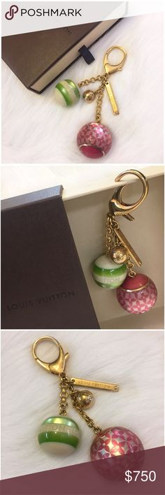 Louis Vuitton Sac Bijoux Mini Lin Bag Charm Chain ALL OFFERS WELCOME! Priced artificially high to allow for negotiations. 💕 Authentic Louis Vuitton Sac Bijoux Mini Lin bag charm / key ring / chain. Pre-owned. Very gently used to accessorize my LV purses. Fuchsia, ivory & green w/ golden brass hardware. Limited edition. Very rare! Comes w/ LV box and a copy of my original receipt. There are some fine scratches on the hardware. Won't be noticeable to onlookers. The hardware is fully…