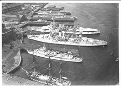 USS Constitution with the battleships USS Texas and USS New York. Picture taken in 1934.