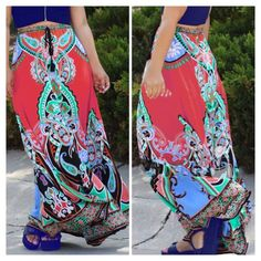 """Boho Maxi Skirt Summer essential maxi skirt with a beautiful pattern in red orange and blue. Elastic waistband. Pair it with tank top or crop top! Made from a cotton/ poly blend. Measurements Hips 39""""-47"""" waist 25""""-42"""" length 40"""" B Chic Skirts Maxi"""