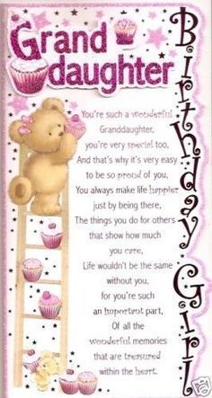 Birthday Quotes : Happy Birthday to a special Granddaughter. Birthday Quotes : Happy Birthday to a special Granddaughter. - The Love Quotes Happy Birthday Kind, Happy Birthday Quotes, Birthday Messages, Birthday Images, Happy Birthday Cards, Happy Quotes, Top Quotes, Nana Quotes, Grandaughter Birthday Wishes