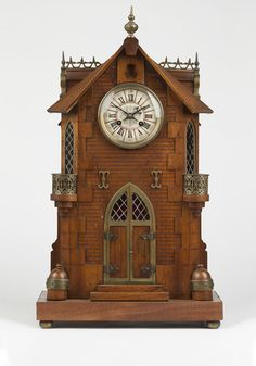 A Gothic style architectural clock. Late 19th / early 20th century, stamped ''G.F.'' within a circle and ''341. 8.1'' to the twin train movement, further marked ''Geo. C. Shreve & Co. / San Francisco''.