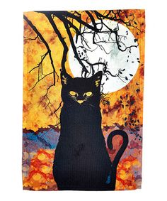 This Black Cat & Moon  Flag is perfect! #zulilyfinds