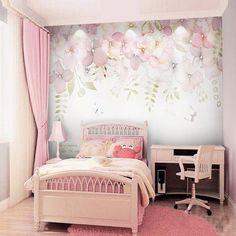 Wallpaper Wall, Flower Wallpaper, Wallpaper For Girls Bedroom, Rooms Home Decor, Bedroom Decor, Lego Bedroom, Childs Bedroom, Nursery Decor, Vintage Bedroom Furniture