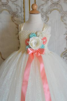 Hey, I found this really awesome Etsy listing at https://www.etsy.com/listing/189462086/glitter-ivory-coral-and-aqua-flower-girl