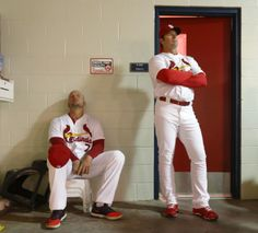 Matt Holliday and Mike Matheny wait for Opening Day festivities to begin, April 7, 2014.