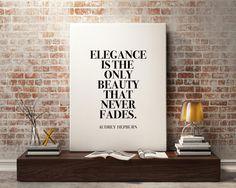 New to StyleScoutDesign on Etsy: Audrey Hepburn quote Print fashion quote wall art audrey hepburn decor Elegance is the beauty that never fades (5.44 USD)