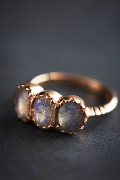 Labradorite Trinity Ring in 14k Rose Gold - anthropologie.com
