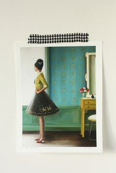 "glad wrap added to fabric to make removable ""tape"" for your walls..Who Knew?! by Twirling Betty"