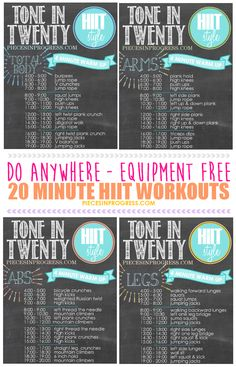 Tone in Twenty HIIT Style workouts you can do anywhere! #fitness #health #workout