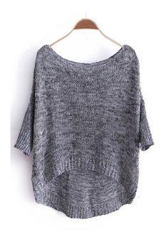 Серый три четверти длины рукава Dipped Hem Jumper Sweater