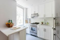 Prewar Apartment From an Estate Sale Turns into a Gem Small Space Living, Small Spaces, Herringbone Wood Floor, Kitchen Room Design, White Ceiling, Bathroom Layout, Apartment Kitchen, Grey Walls, House Plans