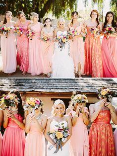 blush and coral bridesmaid dresses @weddingchicks