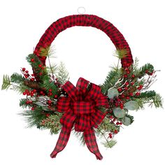With the hustle and bustle of the Holiday, you may not have enough time to fully decorate your home. This lovely pre-decorated wreath will make this year's decorating a breeze. Perfect for hanging on doors, over thresholds, or any way you wish to display it.Product Features:Unlit2? wide tipsWrapped in red and black buffalo plaid ribbon with a matching bowAccented with foliage, berries and pine conesRmend for indoor use onlyNo assembly required? wreath comes in 1 piece Dimensions: 24?… Artificial Christmas Wreaths, Xmas Wreaths, Christmas Bows, Rustic Christmas, Christmas Crafts, Christmas Decorations, Door Wreaths, Winter Wreaths, Elegant Christmas