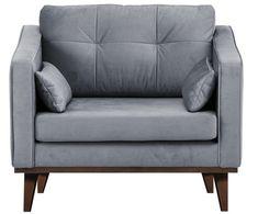Fotel z aksamitu Alva, Tapicerka: szary Nogi: ciemnobrązowy