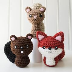 Backyard Critters 1: Beaver, Squirrel, Fox Crochet Amigurumi Pattern, 4 inch