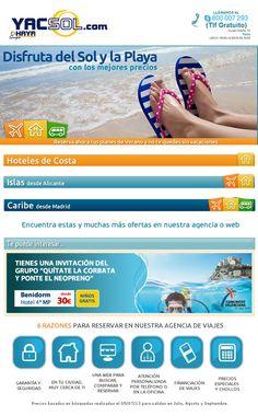 www.yacsol.com en Yecla te ofrece destinos de sol y playa al mejor precio por ejemplo destino benidorm en hotel de 4* en media pensión desde 30 eur con NIÑOS GRATIS !!!