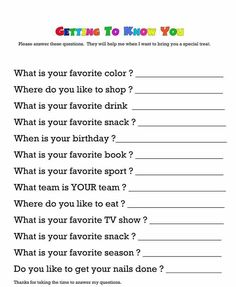Questionnaire for getting to know your child& teacher. Would teachers really answer these questions and return it to you? Teacher Appreciation Week, Employee Appreciation, Your Teacher, Teacher Gifts, Secret Pal, Secret Santa Form, Visiting Teaching, Girls Camp, Activity Days