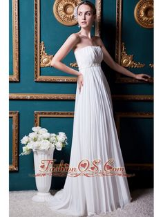 Simple Empire Strapless Brush Train Chiffon Beading and Pleat Wedding Dress- $216.57  http://www.fashionos.com  http://www.facebook.com/quinceaneradress.fashionos.us  If you are looking for a dress that is soft and comfortable, this white dress is exactly what you want. The ruched bodice with a slim beaded band around the waist flatters your figure. The floor length skirt flows in natural pleats and folds which looks graceful when you move. Don't hesitate, take it home.