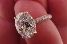 Josh Levkoff - Collection, Rings - 506) Custom Oval Rose Gold 3 Row MicroPave Set Engagement Ring with Underneath Halo