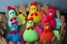 Chicken ornaments-felt chicken bright colored by tonyasepulveda