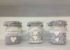 vasi shabby con decorazioni in tessuto e pasta modellabile gabrylea