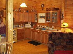 Kitchen view of the Musquash cabin - www.wardcedarloghomes.com