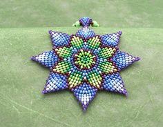Seed Beaded  Mandala Necklace,  Blue Green Sunflower, Medicine Art Jewelry. Beadwork Necklace. Circular Stitch