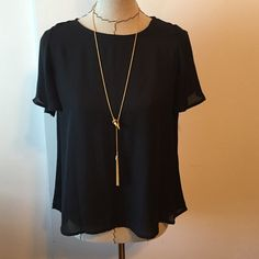 Chiffon top True to size. Super cute. Never worn. Necklace available for sale Tops Blouses