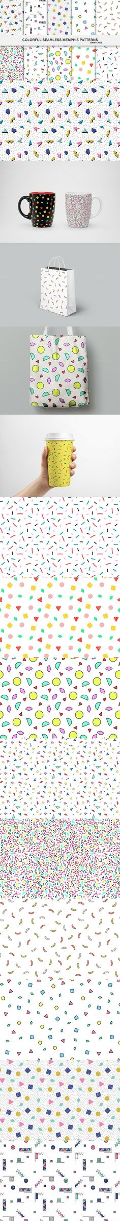 Colorful seamless memphis patterns. Wedding Card Templates. $8.00
