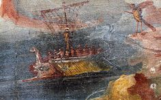 Odysseus and the Sirens. In this fragment of a wall painting from Pompeii (now in the British Museum) Odysseus (Ulysses) is clearly shown bound to the mast of his ship so that he can hear the bewitching song of the Sirens (one of these half-bird/half-female figures is in the upper right-hand corner. The white marks on the right side of the image represent the bones of sailors who have fallen prey to the Sirens.