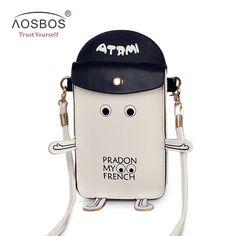 Fashion Female Cute Cartoon Robot PU Shoulder Bags Women Vintage Printing Small Leather Phone Bag Bolsas Ladies Coin Clutch Bag