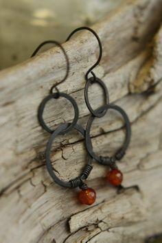Long Copper Drop Earrings by Sparrowtaledesign on Etsy