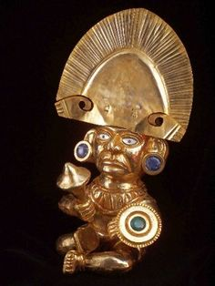 Inca Warrior, with ornaments in the head, weapon and shell on hands. Made of Copper and gold layer of 18K. Width: 25 cms; height: 45 cms; Weight: 700 gr.  The stones in the piece are semi precious gems: turquoise (green) ; onyx (black) , and Lapis Lazuli (strong blue) . In others are Nacre (white) , and spondylus (pink) .
